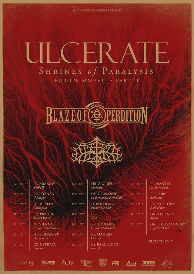 ULCERATE, BLAZE OF PERDITION - Shrines of Paralysis Europe 2017