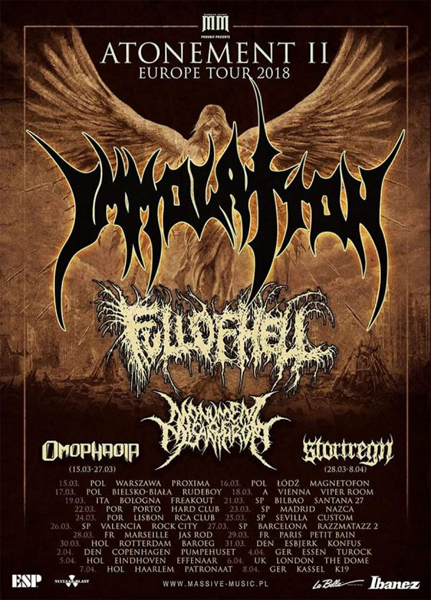 IMMOLATION, FULL OF HELL, OMOPHAGIA, MONUMENT OF MISANTHROPY - Atonement II Europe Tour 2018