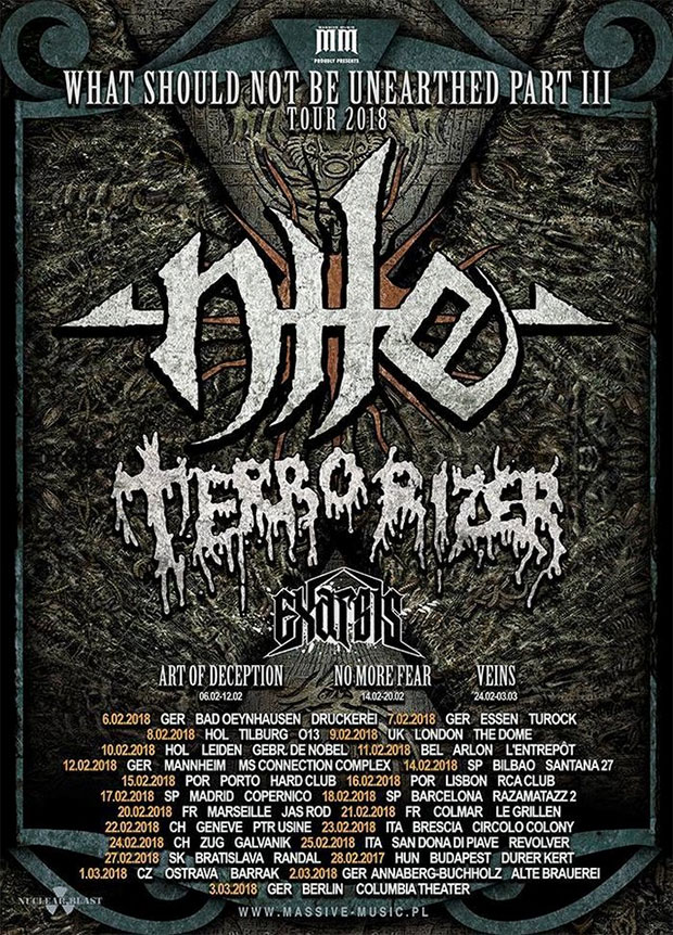 NILE, TERRORIZER, EXARSIS - What Should Not Be Unearthed Tour - Part III
