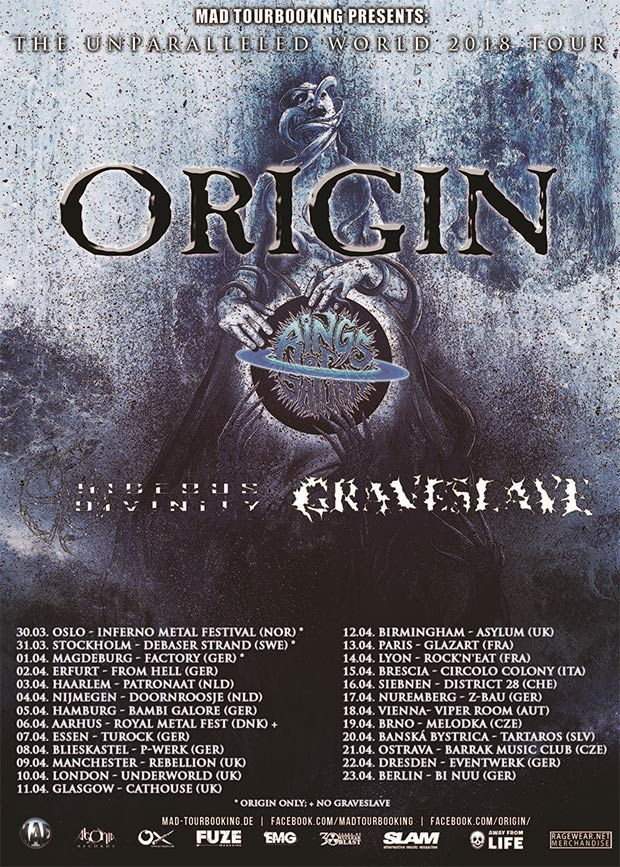 ORIGIN, RINGS OF SATURN, HIDEOUS DIVINITY, GRAVESLAVE - The Unparalleled World Tour 2018