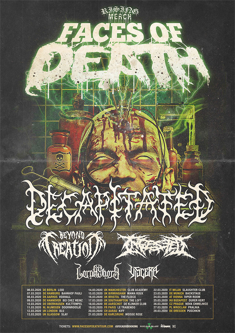 DECAPITATED, BEYOND CREATION, INGESTED, LORNA SHORE, VISCERA - Rising Merch Faces Of Death