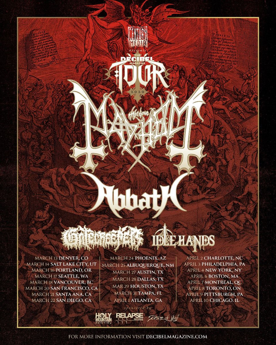 MAYHEM, ABBATH, GATECREEPER, IDLE HANDS - Decibel Magazine Tour 2020