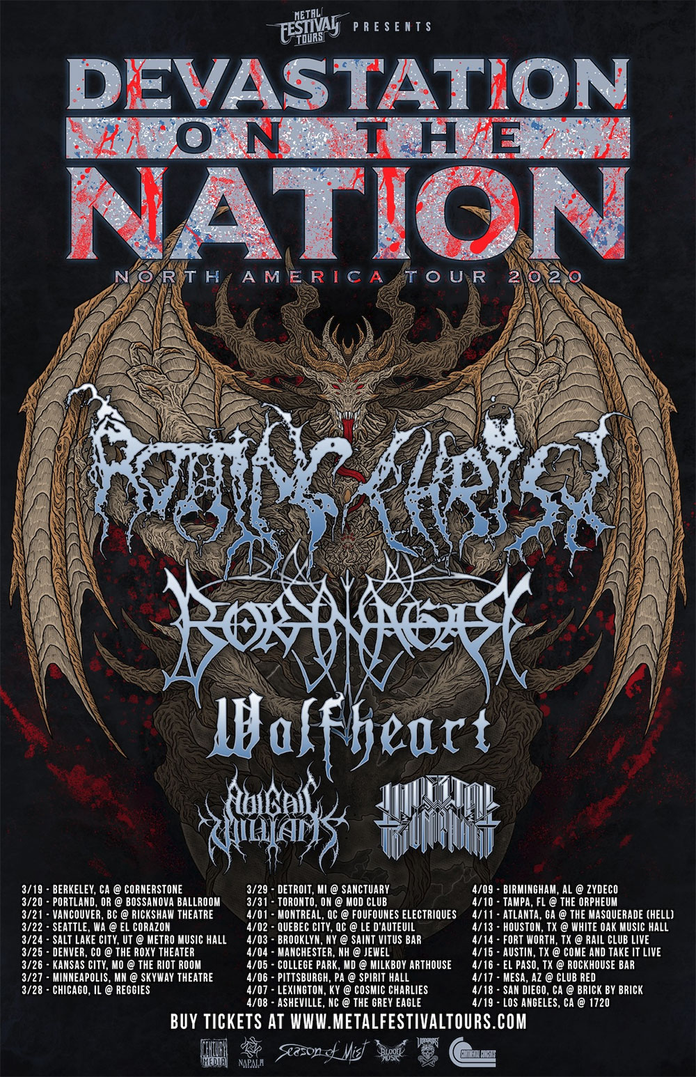 ROTTING CHRIST, BORKNAGAR, WOLFHEART, ABIGAIL WILLIAMS, IMPERIAL TRIUMPHANT - Devastation on the Nation - North America Tour 2020